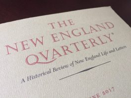 A photograph of a cover page from The New England Quarterly.