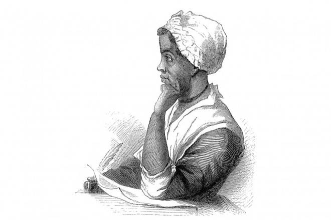 A black and white etching of African-born poet Phillis Wheatley sitting in profile at a desk. She wears a white bonnet. One hand is cupping her chin and the other holds a quill by a piece of paper.